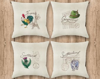 Custom embroidery Cushion cover. Travel pillowcase. Home decor. Home decor. Throw Pillow cover Travel