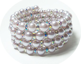 Lavender Memory Wire Bracelet, Pearl and Crystal, Bridesmaid Gift, Bridal Accessories, Purple Jewelry, Lilac Jewelry Bridesmaid Jewelry Cuff