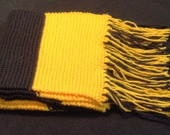 Yellow and Black Striped Scarf with Fringe