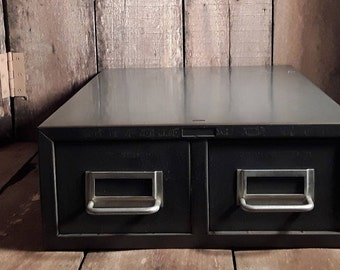 Vintage Two Drawer Metal File Box Storage Container~~ Library Index Card  Holder~~