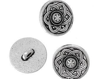 Antique Silver Button - Carved Design - set of 8 - #BUTTON226