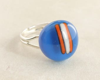 Modern Blue Glass Ring, Adjustable Fused Glass Ring, Blue Cabochon with Silver Band, Unique Artisan Handmade Jewellery, Everyday Ring