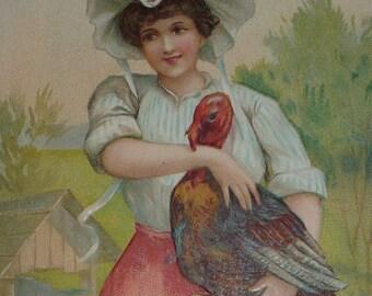 U/S Ellen Clapsaddle Pretty Woman Holding a Turkey Antique Thanksgiving Postcard