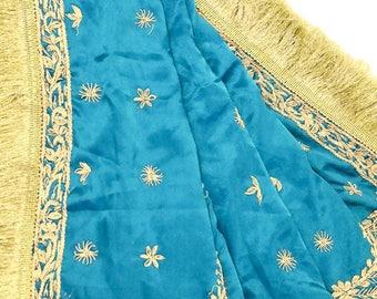 Antique Vintage Indian Bridal Dupatta Tissue Hijab Long Stole Veil Stole Women Hand Beaded Lace Sarong LD1909