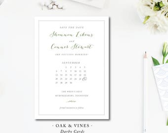 Oak and Vines Printed Save the Dates | Save the Date with Calender  | Printed or Printable by Darby Cards