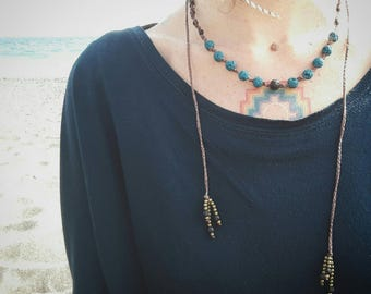 Macrame necklace lava rock