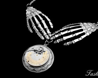 Steampunk Locket Necklace, Victorian Hand Necklace, Art Deco Bib, Gothic Statement Jewelry