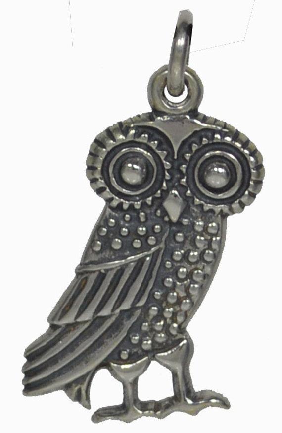 Owl Of Wisdom Silver Pendant - Goddess Athena