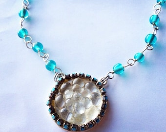 Mermaid Bubbles Cluster Textured Pendant Necklace