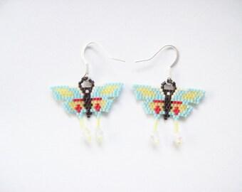 Beaded Butterfly Earrings ,  Butterfly Beadwork Earrings ,  Dangle Beaded Earrings ,  Handmade Earrings ,  Seed beaded earrings