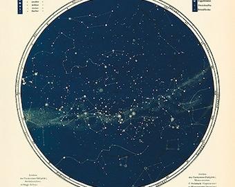 Stern Landkarte   Astronomie Poster   Astrologie   Südlichen Hemisphäre  Kunstdruck   Poster Milchstraße Druck