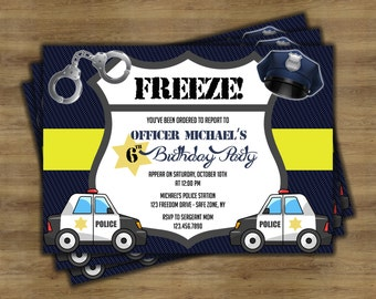 Police Birthday Invitations; Police Birthday Party; Police Party Supplies; Cops and Robbers; Printable Invitation