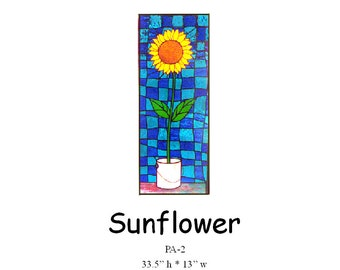 """Sunflower Pattern for Stained Glass  33.5"""" tall by 13"""" wide"""