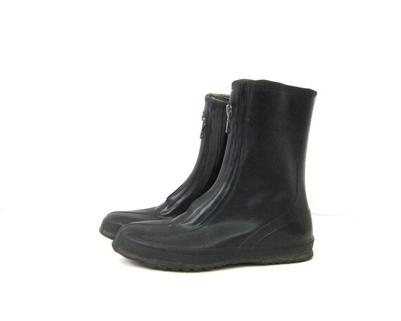 Vintage Black Rubber Rain Boots Black Rubber Waterproof Rainboots Tall Mid Calf Galoshes Over Shoe Rubbers With Zippers Men's Size 8