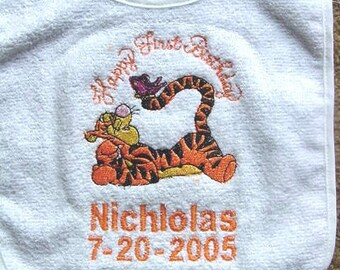 Tigger Babys Happy First Birthday Bib Boy Girl Personalized Embroidered