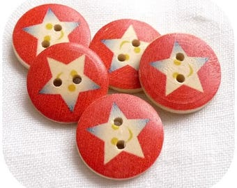 LOT 5 STAR RED BEIGE SCRAPBOOKING SCRAP WOOD BUTTONS