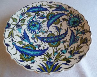 Turkish ceramic plate, 12 inch platter, Iznik, olive and blue, serving plate, birthday or wedding gift, wall art, dinner party plate