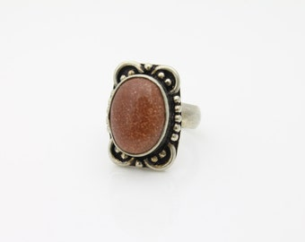 Vintage Chunky Sterling Silver and Red Goldstone Artisan Ring Sz 6.5. [1611]