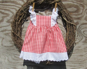 Red Gingham Dress,  Red Plaid Dress,  Girls Birthday Dress, Girls Summer Dress