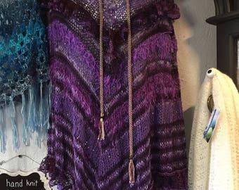 Cotton  Poncho, Hand Knit in Purple Yarn