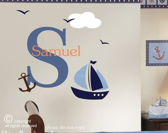 Nautical wall decal - Sailing wall decal - Sailboat wall decal - Nautical wall decor - Sailing decor - Ocean decor - By the sea - wall decal