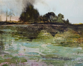 Landscape Painting-- Modern Art-- Pond Abstraction in Turquoise and Green