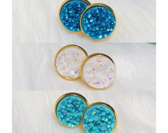 Druzy Studs   Blue Druzy Earrings   Blue Earrings   Stud Earrings   Druzy Earrings