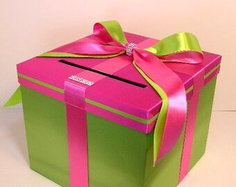 Wedding Card Box Hot Pink/Shocking Pink and Lime Green Gift Card Box Money Box Holder--Customize your color(10x10x9)
