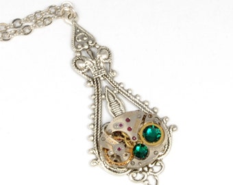 MAY Steampunk Necklace EMERALD GREEN Steampunk Wedding Jewelry Antique Silver Necklace Victorian SteamPunk Jewelry by Victorian Curiosities