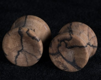 "Made to order Concave Spalted Maple Plugs 8g to 15/16"" (23.8 mm)"