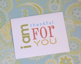 Thank You Gratitude Folded Note Card . Subway Art . A2 Set of 6 Notecards . I Am Thankful // Chartreuse Lime Coral Goldenrod Turquoise Aqua