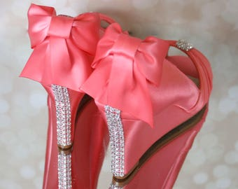 Coral Wedding Shoes, Wedge Wedding Shoes, Custom Wedding Shoes, Crystal Bridal Heels, Coral Pink Wedding, Wedding Shoes with Bow