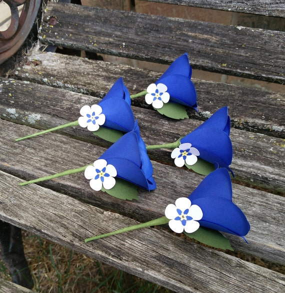 Custom Boutonnieres. Groom, Groomsmen, Wedding. Paper Rose, Forget Me Not