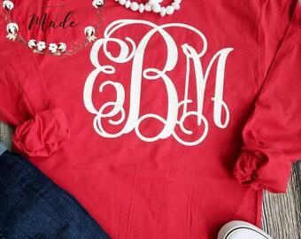 Preppy large Monogrammed t-shirt, monogrammed shirt, valentines day tee, monogram shirt, monogram t-shirt, preppy monogram shirt, Christmas