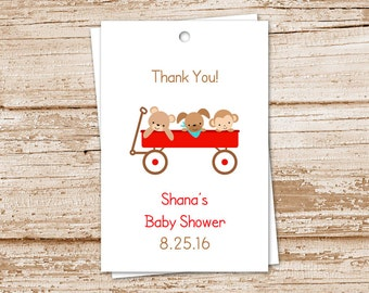 PRINTABLE personalized baby shower favor tags . baby boy . blue green red wagon . puppy monkey teddy bear wagon . thank you tags . YOU PRINT
