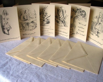 Alice in Wonderland Notecards- Set of 6- Vintage illustrations and quotes from book- blank inside