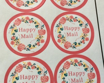 Happy mail stickers floral round