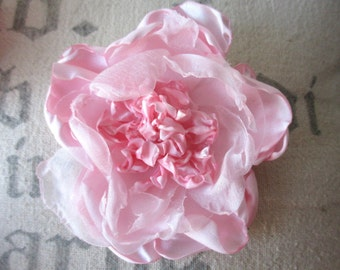 Handmade fabric rose flower rosette clip singed pink satin and chiffon for hair, decor, clothing accessory