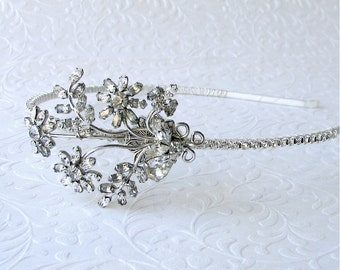 OOAK Jeweled Rhinestone Side Headband Flapper Hairpiece Antique Austrian Crystal Vintage Jewelry Diadem Boho Chic Art Deco Nouveau Bride