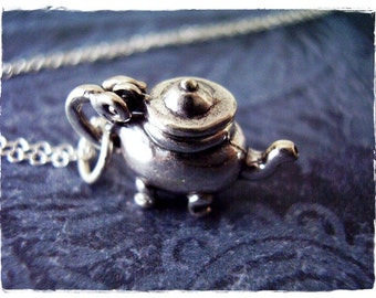 Silver Footed Teapot Necklace - Sterling Silver Footed Teapot Charm on a Delicate Sterling Silver Cable Chain or Charm Only