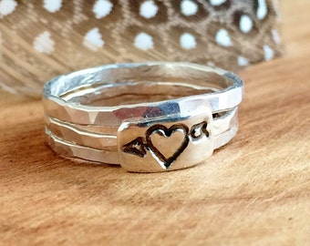 Stackable Silver Heart Ring Set - Sterling Silver - Stackable Rings - Sterling Silver Love Jewelry - Stackable Rings for Women