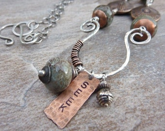 Inspirational Charm Holder Copper Silver Necklace