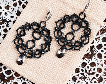 "Lace tatting earrings ""Carousel"""