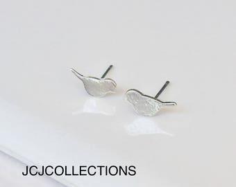 Tiny Bird Stud Silver Earrings