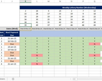 UK National Lottery, Lotto Bingo and Bonus Ball, Syndicate for work, club or pub. Microsoft Excel Spreadsheet.