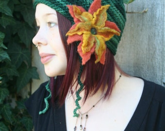 Pixie Style Ear Flap Hat with Felted Flowers- Emerald Green, Salmon and Gold