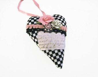 Fabric Heart Art Heart Black White Check Decorative Hanging Heart Valentine Heart Stuffed Heart