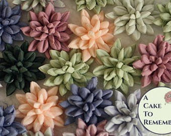 "12 small edible succulents for fall rustic wedding cupcake topper. 1.25"" wide edible flowers for autumn cake toppers or cupcake decorating."