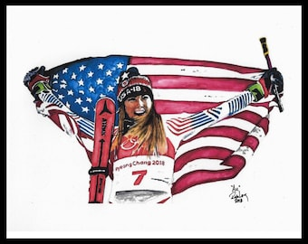 """Original 18X24 Artist Watercolor Portrait """"Au"""" featuring Olympic Champ MIKAELA SHIFFRIN! Available in 9x11, 11X14 and 20x30 prints as well!!"""