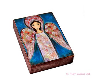 Angel en Rosa - ACEO Giclee print mounted on Wood (2.5 x 3.5 inches) Folk Art  by FLOR LARIOS